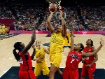 Australia's ELIZABETH CAMBAGE shoots during the women's semifinal basketball game of London 2012 Olympic Games at North Greenwich Arena in London, England.
