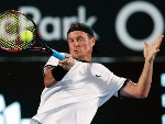LLEYTON HEWITT of Australia plays a forehand in a Fast Fours Exhibition Match against Grigor Dimitrov of Bulgaria during the 2018 Sydney International at Sydney Olympic Park Tennis Centre in Sydney, Australia.