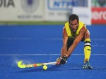 MARK KOWLES captain of Australia controls the ball during the final match between Australia and Belgium on day ten of The Hero Hockey L