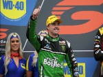 MARK WINTERBOTTOM driver of the #5 The Bottle-O Racing Ford Falcon FGX celebrates on the podium the Phillip Island 500, which is part of the Supercars Championship at Phillip Island Grand Prix Circuit in Phillip Island, Australia.