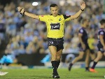 Referee MATT CECCHIN awards a penalty to the Sharks during the NRL match between the Cronulla Sharks and the Melbourne Storm at Southern Cross Group Stadium in Sydney, Australia.