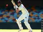 MATTHEW RENSHAW of the Bulls bats during day two of the Sheffield Shield match between Queensland and Victoria at the Gabba in Brisbane, Australia.