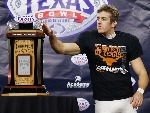 MICHAEL DICKSON #13 of the Texas Longhorns accepts the MVP award for the Academy Sports & Outdoors Bowl at NRG Stadium in Houston, Texas.