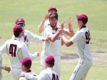 MICHAEL NESER of Queensland is congratulated by his teammates after dismissing Marcus Harris of Victoria during the Sheffield Shield match between Victoria and Queensland at MCG in Melbourne, Australia.