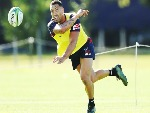 MICHAEL RURU passes the ball during a Melbourne Rebels Super Rugby training session at Gosch's Paddock in Melbourne, Australia.