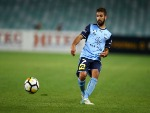 MICHAEL ZULLO of Sydney FC passes during the A-League match between Sydney FC and the Perth Glory at Allianz Stadium in Sydney, Australia.