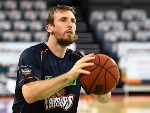 MITCH MCCARRON of the Taipans warms up before the start of the NBL match between the Cairns Taipans and the Sydney Kings at Cairns Convention Centre in Cairns, Australia.