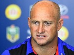 Knights coach NATHAN BROWN speaks at the post match media conference at the end of during the NRL match between the North Queensland Cowboys and the Newcastle Knights at 1300SMILES Stadium in Townsville, Australia.