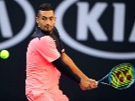 NICK KYRGIOS of Australia plays a backhand against Rogerio Dutra Silva of Brazil of the 2018 Australian Open at Melbourne Park in Australia.