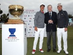 Soren Kjeldsen and Thorbjorn Olesen of Denmark pose with former Australian professional golfer PETER THOMSON and the trophy after winning the tournament during the World Cup of Golf at Kingston Heath Golf Club in Melbourne, Australia.