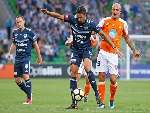 RHYS WILLIAMS of the Victory competes for the ball during the AFC Asian Champions League match between the Melbourne Victory and Ulsan Hyundai FC at AAMI Park in Melbourne, Australia.
