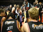 Hawks coach ROB BEVERIDGE talks to his players during a break during the NBL match between the Illawarra Hawks and Melbourne United in Wollongong, Australia.