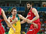 RYAN BROEKHOFF #9 of Australia drives the ball against Serbia during the Men's Semifinal match on the Rio 2016 Olympic Games at Carioca Arena in Rio de Janeiro, Brazil.