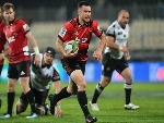 RYAN CROTTY of the Crusaders runs through to score a try during the Super Rugby match between the Crusaders and the Sunwolves at AMI Stadium in Christchurch, New Zealand.