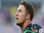 SAM BURGESS of the Rabbitohs looks to the replay screen during the round one NRL match between the South Sydney Rabbitohs and the New Zealand Warriors at Optus Stadium in Perth, Australia.