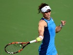 SAMANTHA STOSUR of Australia plays forehand during the WTA Dubai Duty Free Tennis Championship at the Dubai Tennis Stadium in Dubai, United Arab Emirates.