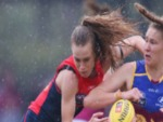 SARAH LAMPARD of the Demons during the round one Women's AFL match between the Melbourne Demons and the Brisbane Lions at Casey Fields in Melbourne, Australia.