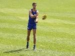 SCOTT LYCETT handballs during a West Coast Eagles AFL training session at Subiaco Oval in Perth, Australia.
