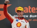 SCOTT MCLAUGHLIN driver of the Shell V-Power Racing Team Ford Falcon FGX celebrates after winning the Ipswich SuperSprint, which is part of the Supercars Championship at Queensland Raceway in Ipswich, Australia.