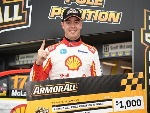 SCOTT MCLAUGHLIN driver of the #17 Shell V-Power Racing Team Ford Falcon FGX celebrates after taking pole position for race 10 during the Supercars Phillip Island 500 at Phillip Island Grand Prix Circuit in Phillip Island, Australia.