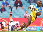 SEMI RADRADRA of the Eels is tackled during a NRL match at Allianz Stadium in Sydney, Australia.