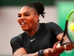 SERENA WILLIAMS of The United States plays a backhand during the ladies singles match against Julia Georges of Germany during the 2018 French Open at Roland Garros in Paris, France.