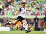 SHAUN JOHNSON of the Warriors kicks his first field goal of the match to bring the scores level during the NRL match between the Canberra Raiders and the New Zealand Warriors at GIO Stadium in Canberra, Australia.