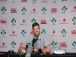 Forwards coach SIMON EASTERBY speaks during the Irish national rugby team press conference at Westerford High School fields in Cape Town, South Africa.