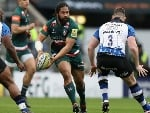 TATAFU POLOTA-NAU of Leicester runs with the ball during the Aviva Premiership match between Bath Rugby and Leicester Tigers at TS in London, England.