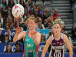 TEGAN PHILIP of the Vixens (L) passes during the Super Netball match between the Vixens and the Firebirds at Hisense Arena in Melbourne, Australia.