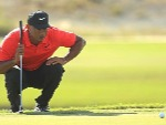 TIGER WOODS of the United States lines up a putt during the Hero World Challenge at Albany in Nassau, Bahamas.