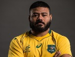 TOLU LATU poses for a headshot during the Australian Wallabies Player Camp at the AIS in Canberra, Australia.
