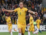 TOMI JURIC of the Socceroos celebrates a goal during the FIFA World Cup Qualifier match between the Australian Socceroos and Thailand at AAMI Park in Melbourne, Australia.