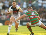TRENT MERRIN of the Panthers runs the ball during the NRL match between the Penrith Panthers and the South Sydney Rabbitohs at Penrith Stadium in Sydney, Australia.