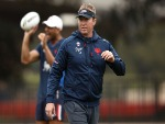 TRENT ROBINSON looks on during a Sydney Roosters NRL training session at Allianz Stadium in Sydney, Australia.