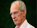 Coach WAYNE BENNETT of the Broncos answers questions at a press conference after the NRL match between the Brisbane Broncos and the Melbourne Storm at Suncorp Stadium in Brisbane, Australia.