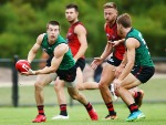 ZACH MERRETT of the Bombers looks upfield during the Essendon Bombers AFL Intra-Club Match at The Hangar in Melbourne, Australia.