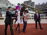 Trainer Tony Millard and Singapore Sling after the Hong Kong Classic Cup victory.