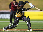 AMELIA KERR of Wellington bats during the Hallyburton Johnstone Shield match between the Wellington Blaze and the Canterbury Magicians at Basin Reserve in Wellington, New Zealand.