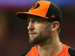 ANDREW TYE of the Scorchers looks on while fielding during the Big Bash League match between the Perth Scorchers and the Hobart Hurricanes at Optus Stadium in Perth, Australia.