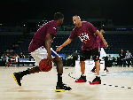 Assistant Coach CJ Bruton of Brisbane during warm up prior to the round five NBL match between the New Zealand Breakers and the Brisbane Bullets at Vector Arena in Auckland, New Zealand.