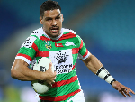 CODY WALKER of the Rabbitohs runs the ball during the NRL match between the Gold Coast Titans and the South Sydney Rabbitohs at Cbus Super Stadium in Gold Coast, Australia.