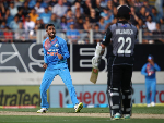 KRUNAL PANDYA of India celebrates his wicket during the International T20 Series between the New Zealand Black Caps and India at Eden Park in Auckland, New Zealand.