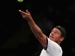 LLEYTON HEWITT of The World team serves during the BNP Paribas Showdown at Madison Square Garden in New York City.