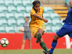 MARY FOWLER of Australia takes a shot at goal during the International match between the Young Matildas and Thailand at Leichhardt Oval in Sydney, Australia.