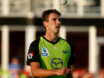 PAT CUMMINS of the Thunder prepares to bowl during the Big Bash League match between the Sydney Thunder and the Hobart Hurricanes at Manuka Oval in Canberra, Australia.