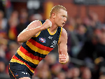 SAM JACOBS of the Crows celebrates after kicking a goal during the round 15 AFL match between the Adelaide Crows and the West Coast Eagles at Adelaide Oval in Adelaide, Australia.