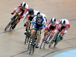 SHANE PERKINS of Australia out front in the Elite Men Keirin B final during the Oceania Track Cycling Championships in Invercargill, New Zealand.