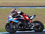 TOM SYKES of Great Britain and BMW Motorrad WorldSBK Team heads down a straight during the 2019 World Superbikes Tests at Grand Prix Circuit in Phillip Island, Australia.
