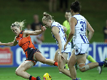 YVONNE BONNER of the Giants is tackled during the round two AFLW match between the Greater Western Sydney Giants and North Melbourne Kangaroos at Drummoyne Oval in Sydney, Australia.